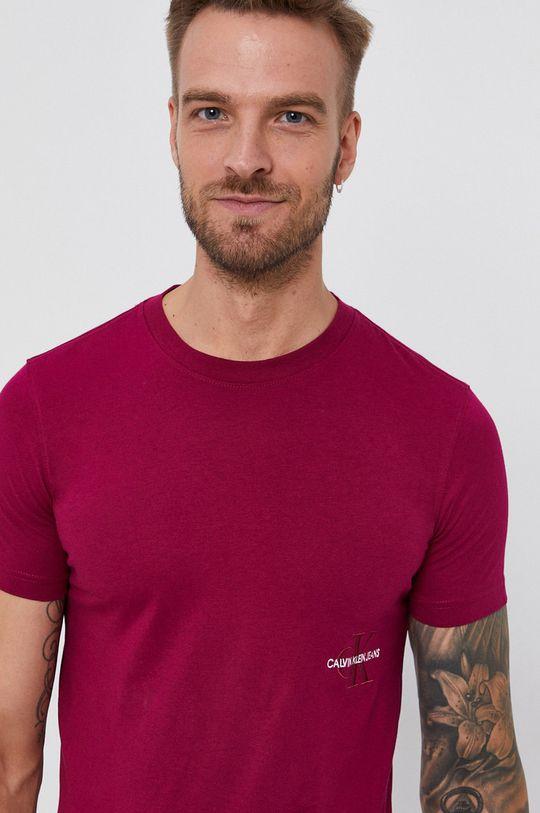 purpurowy Calvin Klein Jeans - T-shirt bawełniany