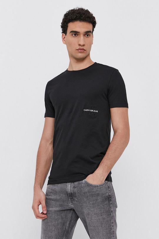 čierna Calvin Klein Jeans - Bavlnené tričko Pánsky