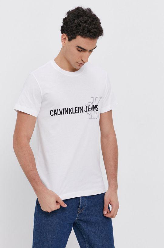 biały Calvin Klein Jeans - T-shirt bawełniany Męski