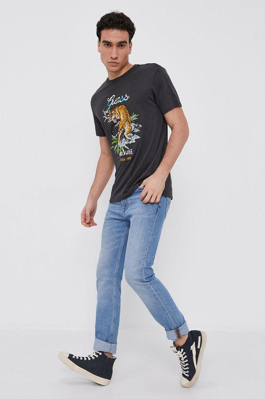 Guess - Bavlnené tričko sivá