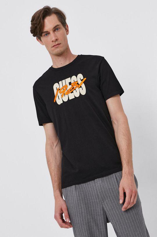 čierna Guess - Bavlnené tričko Pánsky