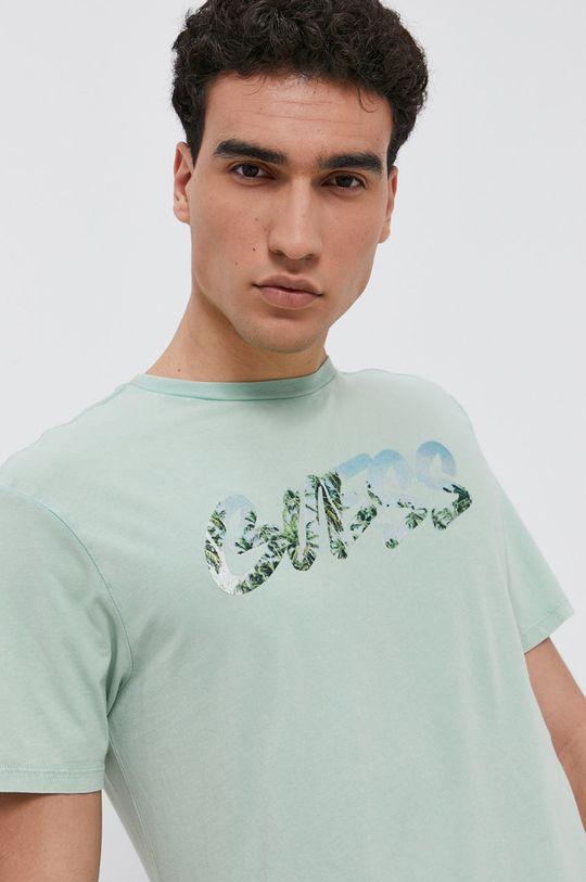 světle zelená Guess - Bavlněné tričko Pánský