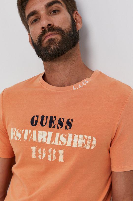 jasně oranžová Guess - Tričko Pánský