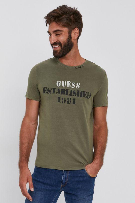 olivová Guess - Tričko Pánský