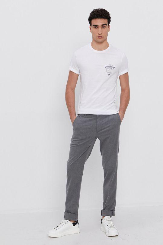 Guess - Bavlněné tričko bílá