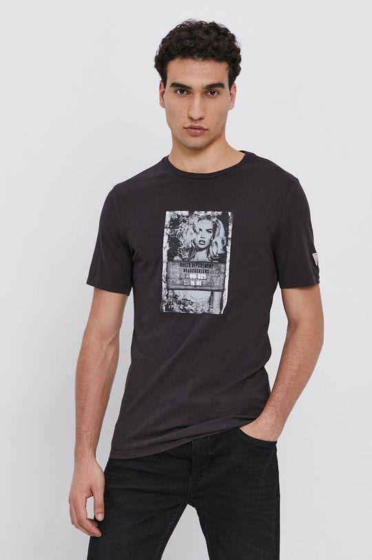 grafitová Guess - Bavlněné tričko Pánský