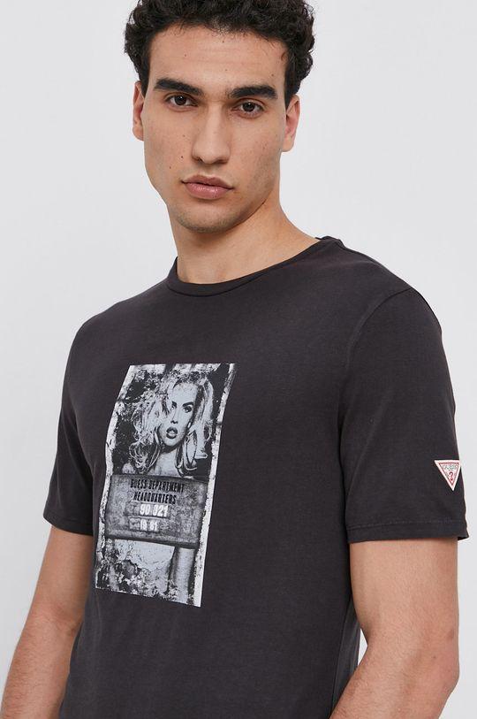 grafitová Guess - Bavlněné tričko