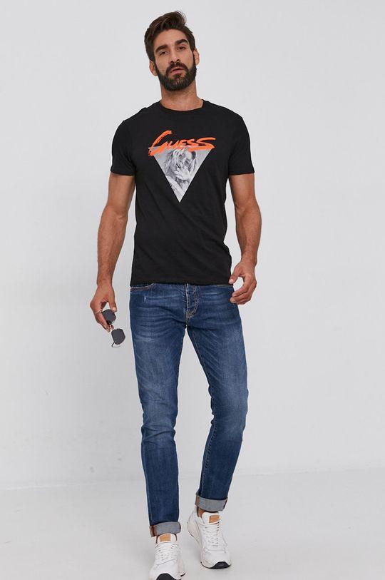 Guess - Bavlnené tričko čierna