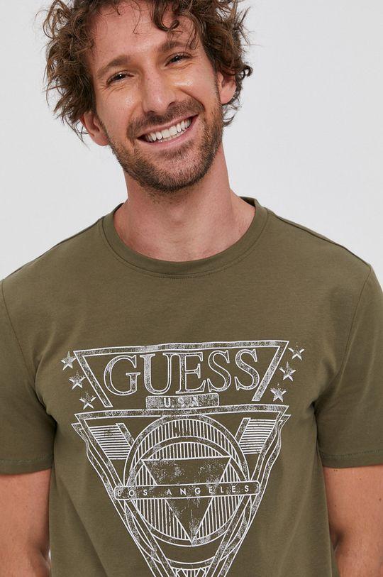 oliwkowy Guess - T-shirt Męski