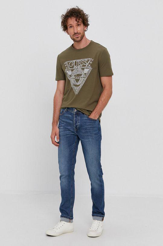 Guess - T-shirt oliwkowy
