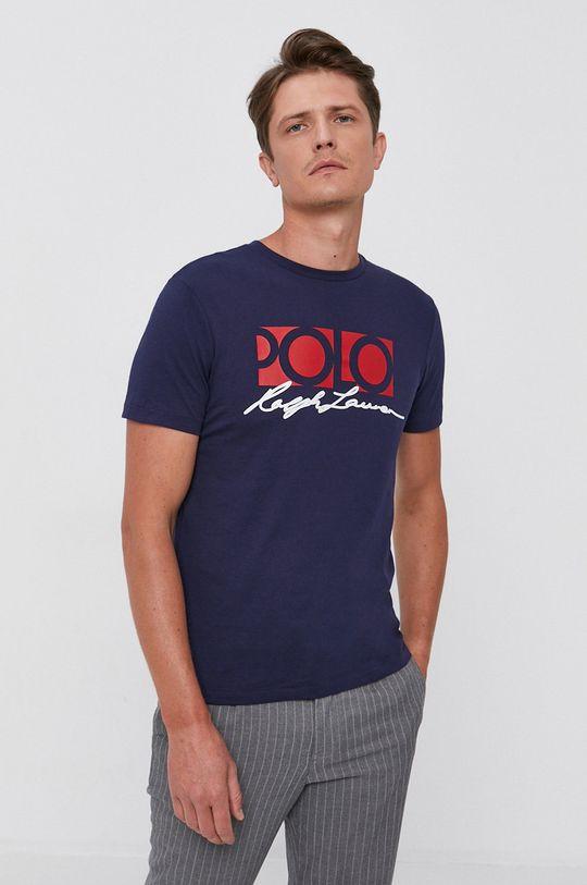 granatowy Polo Ralph Lauren - T-shirt bawełniany Męski