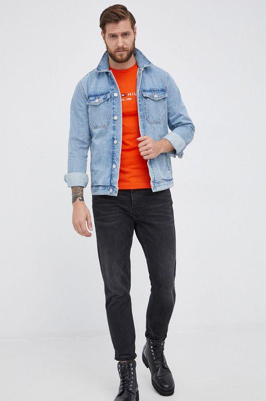 Tommy Hilfiger - T-shirt bawełniany pomarańczowy
