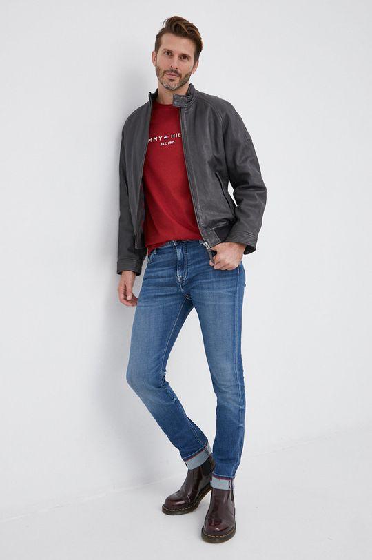 Tommy Hilfiger - T-shirt bawełniany kasztanowy