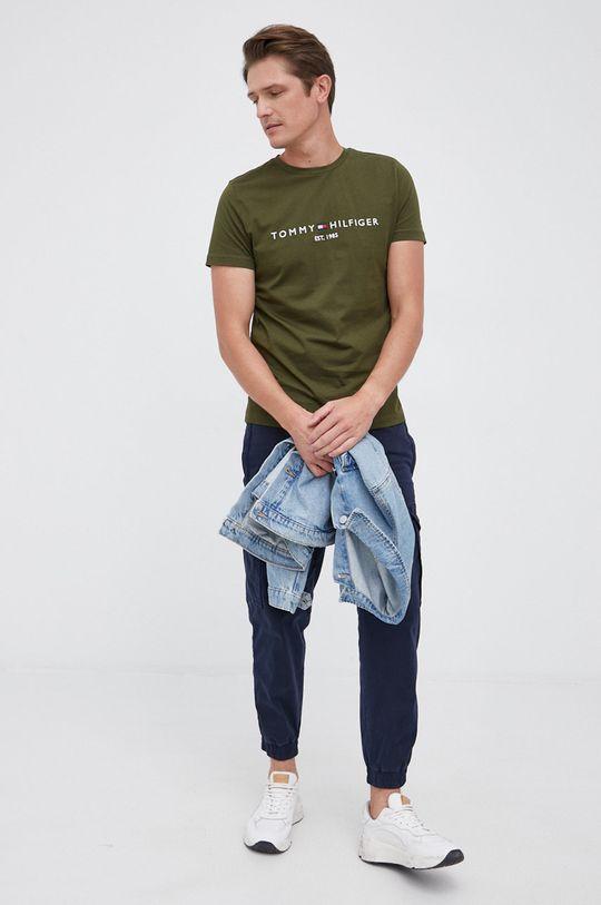 Tommy Hilfiger - T-shirt bawełniany oliwkowy