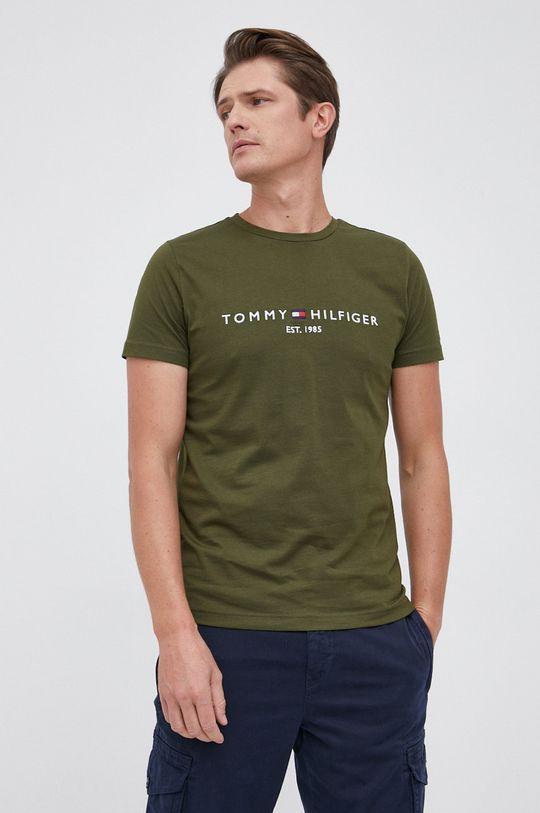 oliwkowy Tommy Hilfiger - T-shirt bawełniany