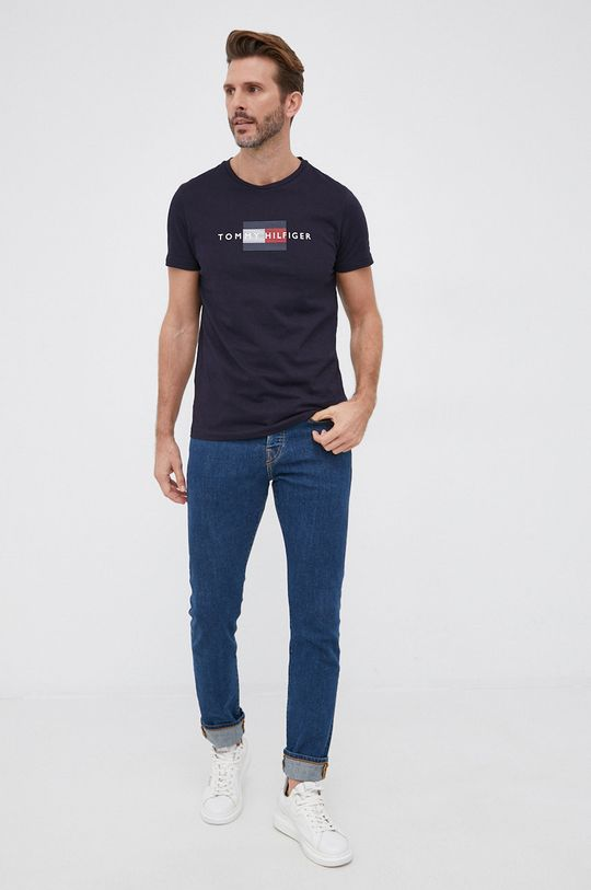 Tommy Hilfiger - T-shirt bawełniany granatowy