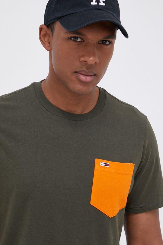 oliwkowy Tommy Jeans - T-shirt bawełniany Męski