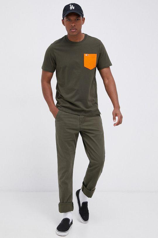 Tommy Jeans - T-shirt bawełniany oliwkowy
