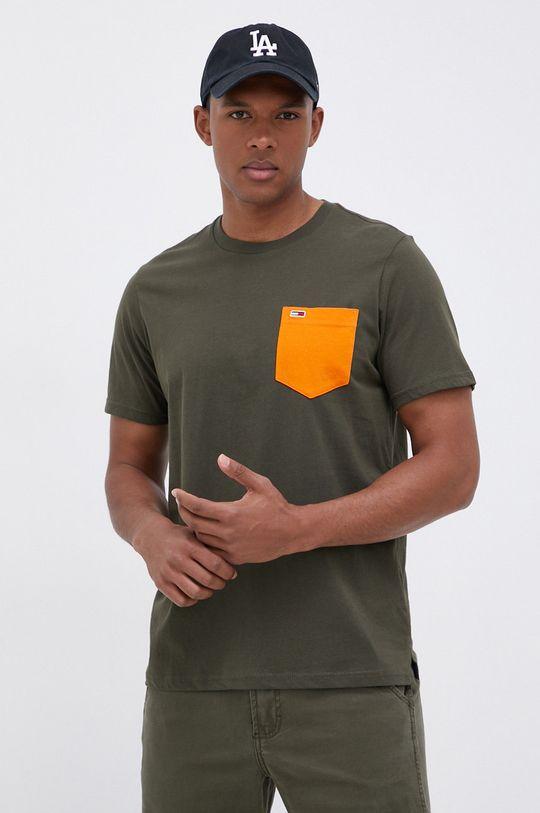 oliwkowy Tommy Jeans - T-shirt bawełniany