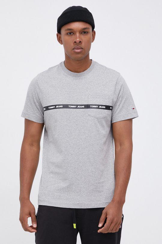 jasny szary Tommy Jeans - T-shirt bawełniany Męski