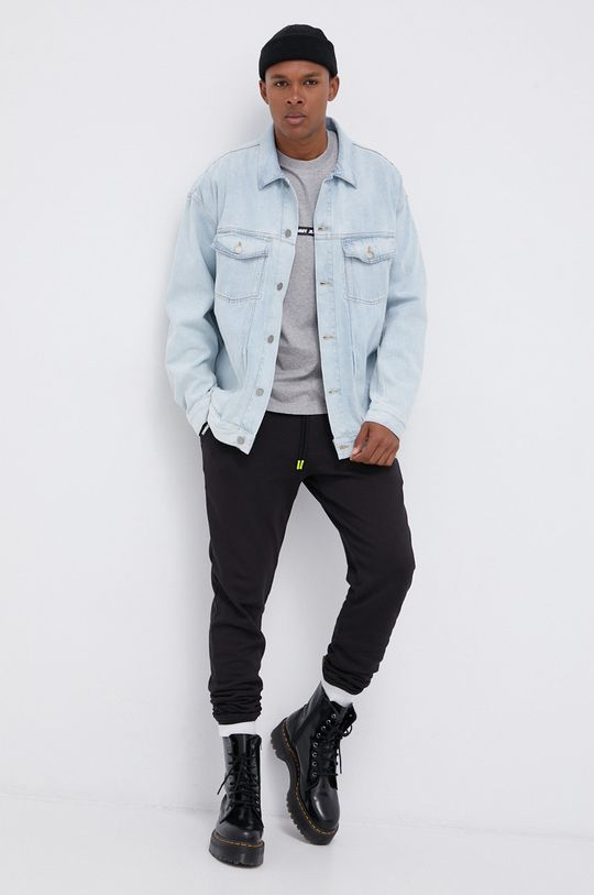 Tommy Jeans - T-shirt bawełniany jasny szary