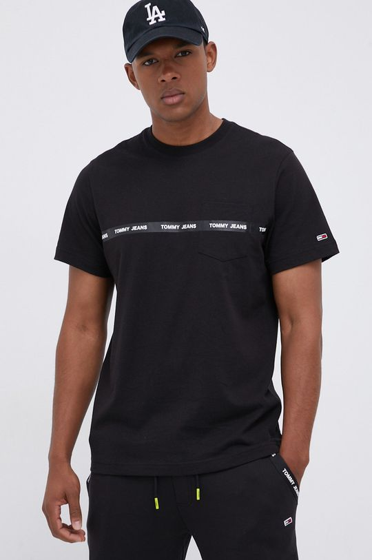 czarny Tommy Jeans - T-shirt bawełniany Męski