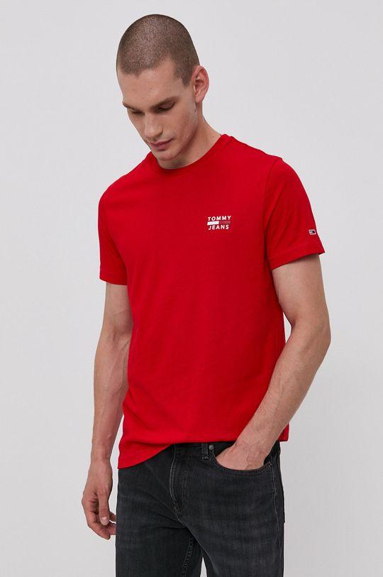 červená Tommy Jeans - Bavlněné tričko Pánský