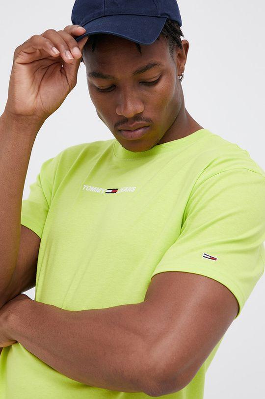żółto - zielony Tommy Jeans - T-shirt bawełniany Męski