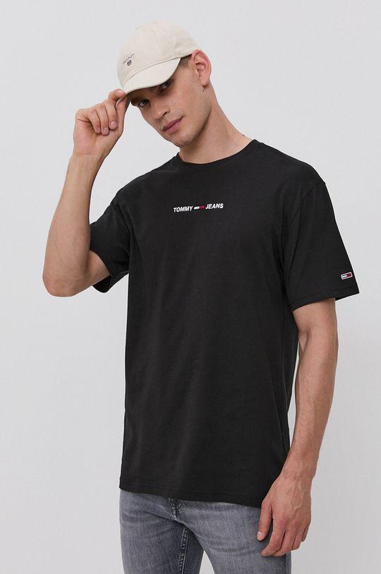 černá Tommy Jeans - Bavlněné tričko