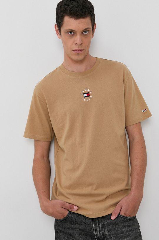 beżowy Tommy Jeans - T-shirt bawełniany Męski