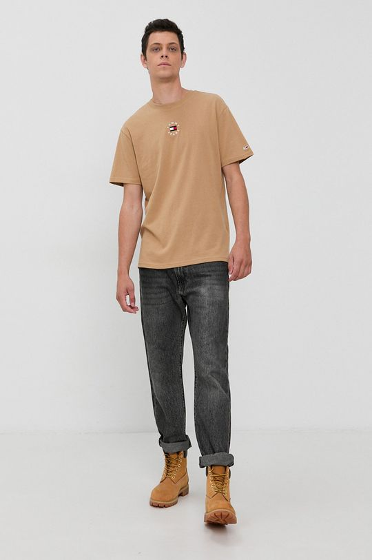Tommy Jeans - T-shirt bawełniany beżowy