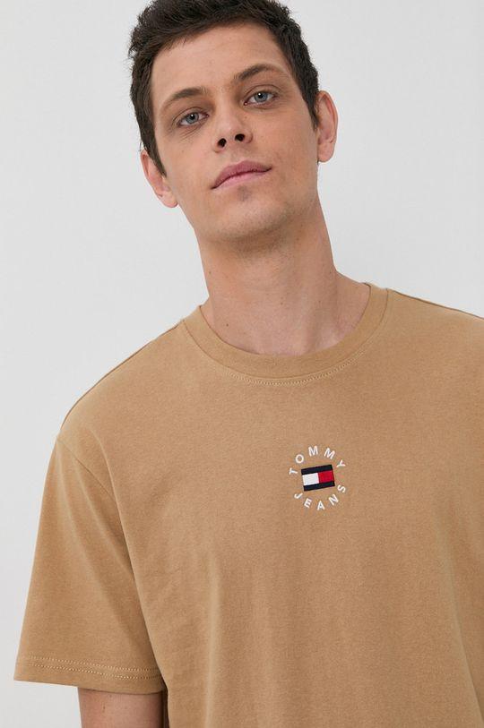 beżowy Tommy Jeans - T-shirt bawełniany