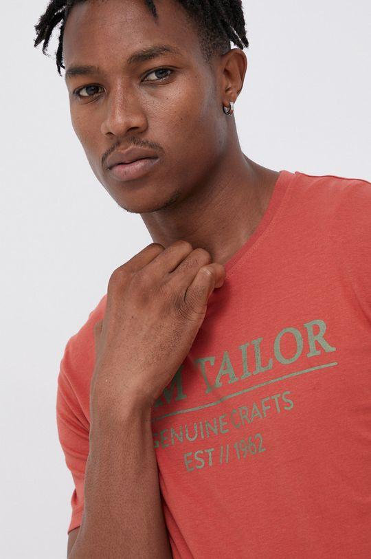 czerwony Tom Tailor - T-shirt bawełniany