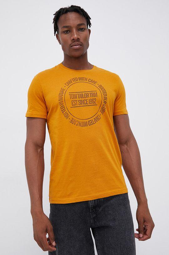 żółty Tom Tailor - T-shirt bawełniany Męski