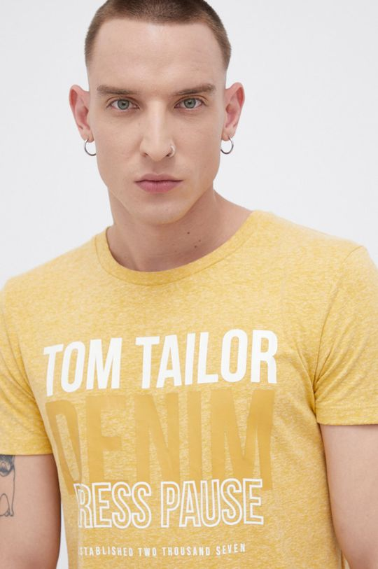 żółty Tom Tailor - T-shirt Męski