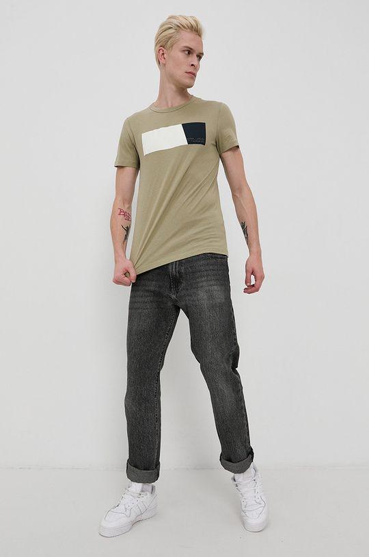 olivová Tom Tailor - Bavlnené tričko Pánsky