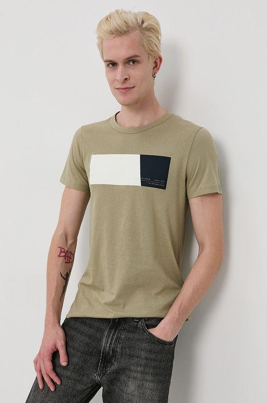 Tom Tailor - Bavlnené tričko olivová