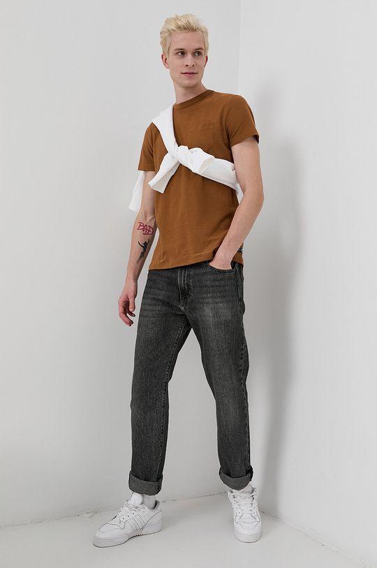 Tom Tailor - Tricou din bumbac maro