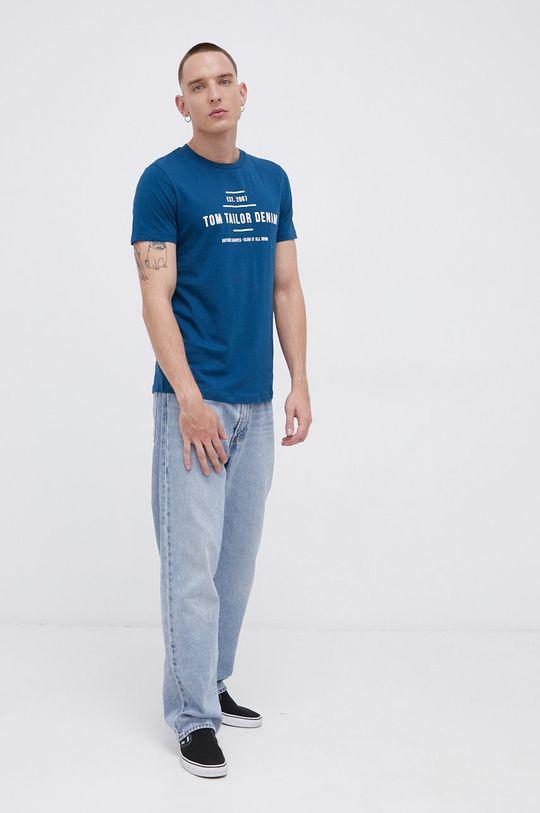 niebieski Tom Tailor - T-shirt bawełniany Męski