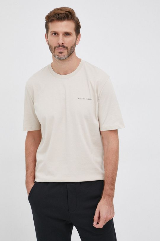 piaskowy Tiger Of Sweden - T-shirt bawełniany Męski