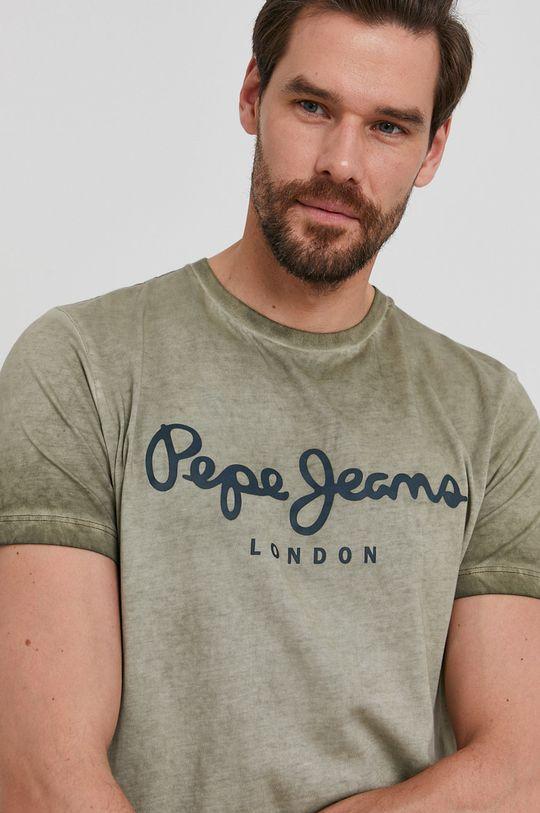 tmavě zelená Pepe Jeans - Tričko West Sir New Pánský