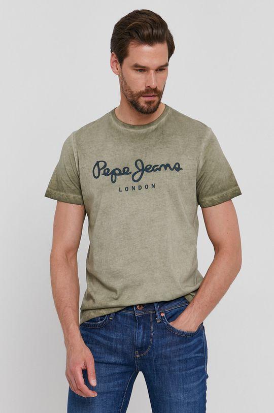 tmavě zelená Pepe Jeans - Tričko West Sir New