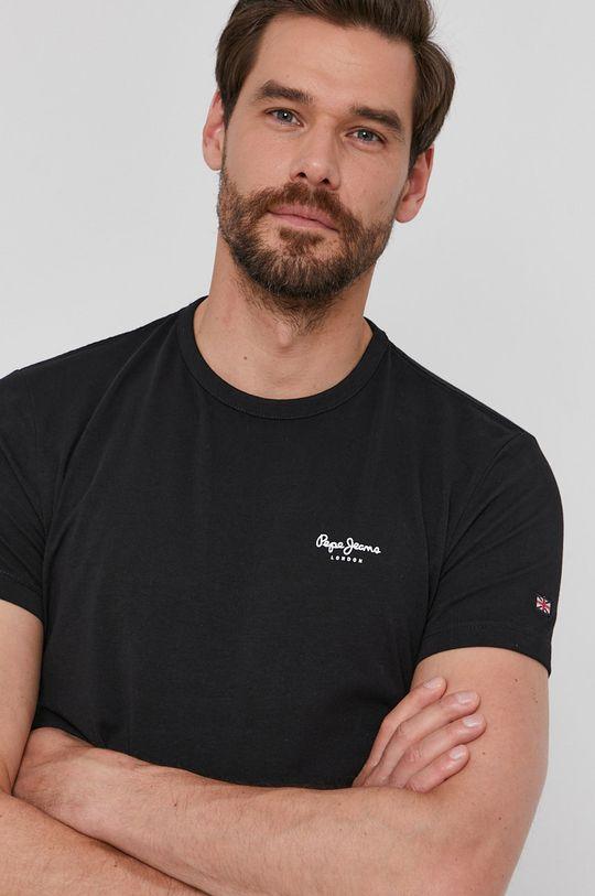 czarny Pepe Jeans - T-shirt Basic Męski