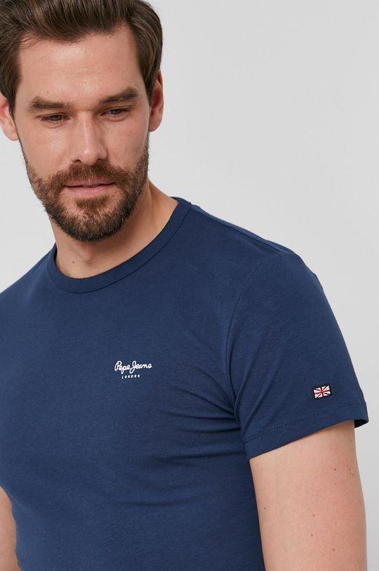 granatowy Pepe Jeans - T-shirt Basic Męski