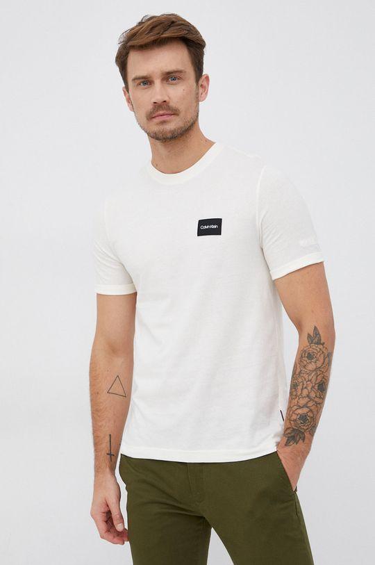 kremowy Calvin Klein - T-shirt bawełniany Męski