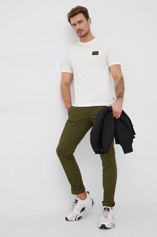 Calvin Klein - T-shirt bawełniany kremowy