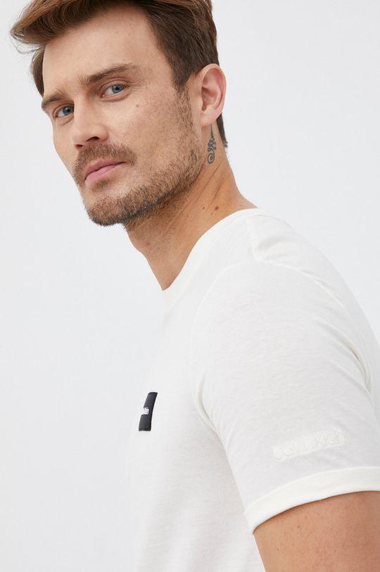 kremowy Calvin Klein - T-shirt bawełniany