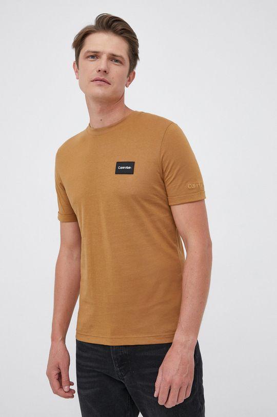złoty brąz Calvin Klein - T-shirt bawełniany Męski