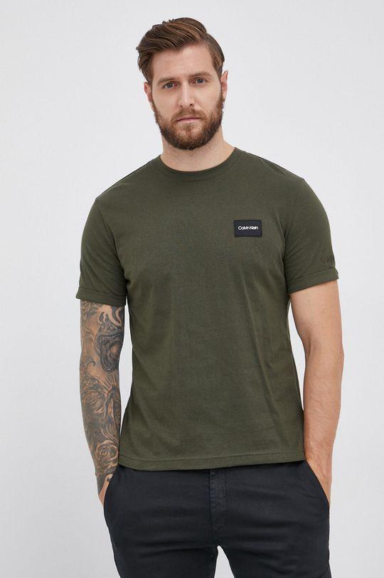 oliwkowy Calvin Klein - T-shirt bawełniany Męski