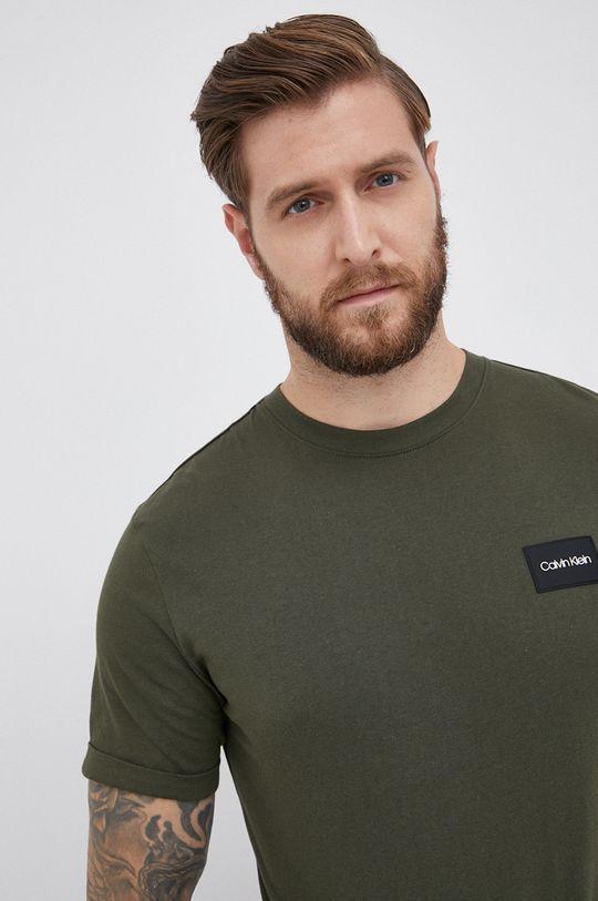 oliwkowy Calvin Klein - T-shirt bawełniany